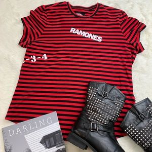 TRIPP NYC Ramones 1-2-3-4 Red Black Band T-Shirt